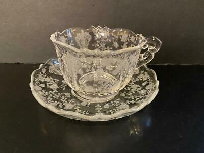 Cambridge Rose Point 3900 Cup and Saucer Clear 4 Sets
