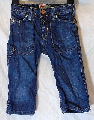 Baby Boys Diesel Designer Blue Distressed Denim Relaxed Jeans Age 9-12 Months