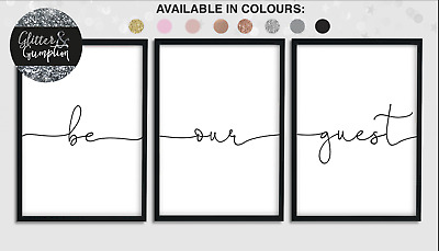 Be our guest prints Home wall art Set of 3 typography prints  ALL COLOURS GG38
