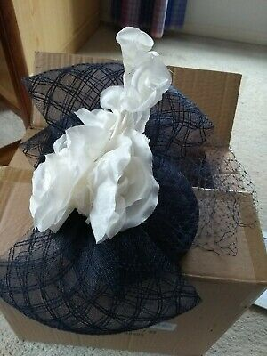 John Lewis Lucy Flower Pillbox Fascinator Navy/Off White