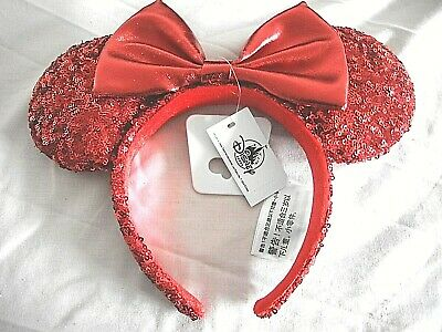 Disney Parks Minnie Mouse Ears Pirate Redd Red Sequin Bow Headband NEW