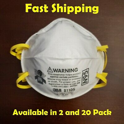 3M N95 Respirator Mask 8110S 8210 Small Women Child Fast Shipping 2 Pack 20 Pack