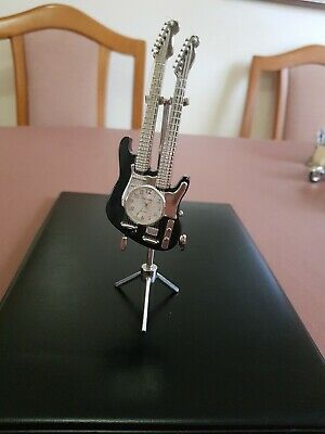 Black & Silver Metal Guitar & Stand, Quartz Novelty Collectors Clock, Wm Widdop