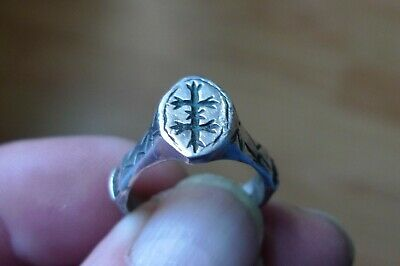 British Uk Metal Detecting Knights Templar Silver Ring Crusaders Lorraine Cross