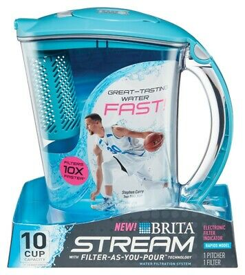 Brita 4826533 10 Cup Blue Water Filter Pitcher with Filter Change Indicator