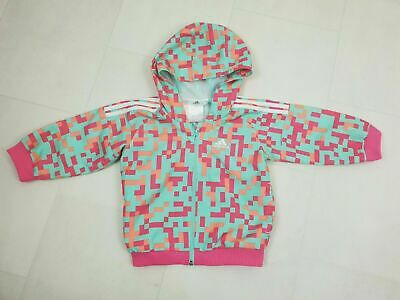 adidas Pink Mint Green Zip Up Track Top Jacket Baby Girls Size Age 6-9 Months