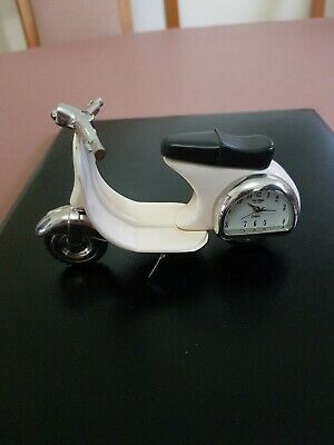 Cream & Silver Scooter, Quartz Novelty Collectors Clock By Wm Widdop