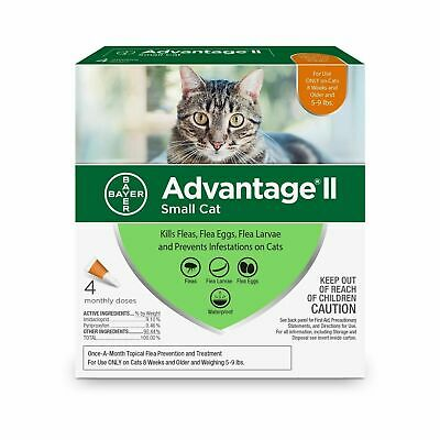 New Bayer Advantage II 4 Pack for Small Cats 5 - 9 lbs Genuine EPA Approved USA