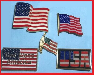 5  USA -Old Glory Flag Pins - God Bless America Pin Lot