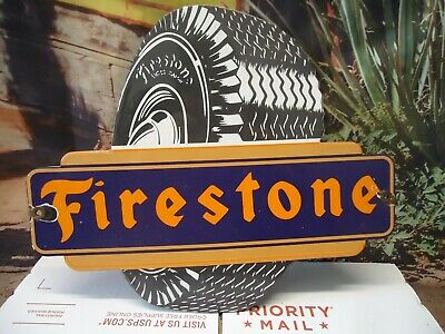 Vintage FIRESTONE TIRES  Porcelain Enamel Sign Tire Die Cut Double Sided Flange