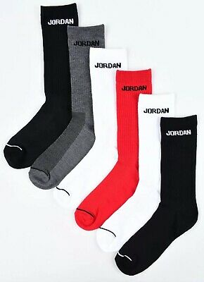 NIKE AIR JORDAN 6-pack Boys' Kids' Socks, Black/White/Grey/Red, UK junior 4.5-6