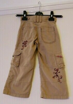 Fat Face Girls Beige Combat Trousers with Flower Design on Back, Age 4 Years