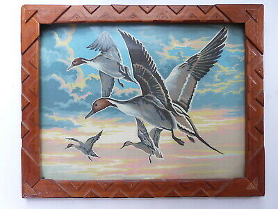 Vtg PBN paint by number bird duck wildlife nature pintail painting