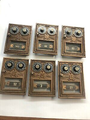 Antique Corbin brass post office mailbox door with  eagle Lot Of 6!