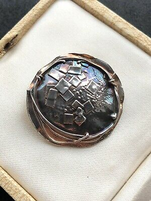 Vintage Modernist Abstract Silver Round Brooch Unusual Art Piece Gift Wrapped