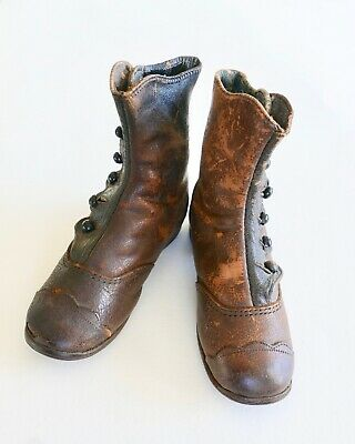 Antique Victorian Children's Button Boots Child's Brown Leather Scalloped Edges