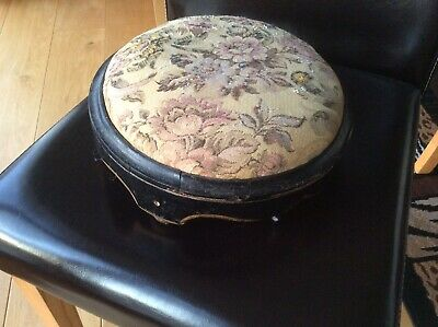 Victorian Circular Floral Tapestry Wooden Foot Stool