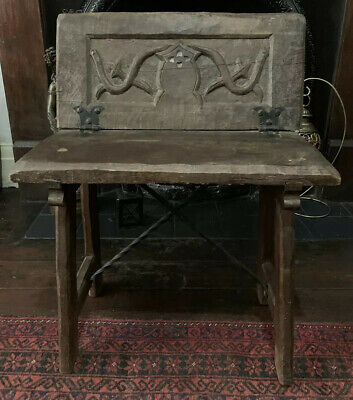 Antique French Arts And Crafts Gothic Oak Bench Chair
