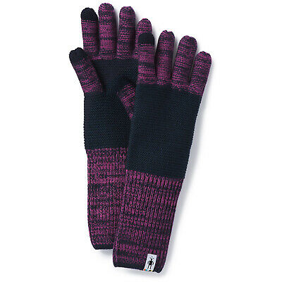 NWT Smartwool Winter Valley Stripe Gloves Deep Navy/Meadow Mauve Heather