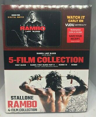 4-Film Blu-Ray Collection First Blood Rambo II III & Rambo NO DIGITAL LAST BLOOD