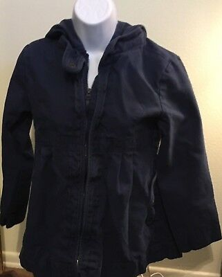 Old Navy Blue Coat Jacket Hood Flare Zip Up Cotton Hooded Girls Youth Size Large
