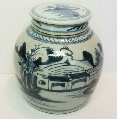 Antique Chinese Blue & White Porcelain Lidded Ginger Jar