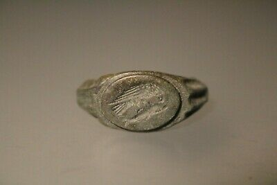 Ancient Interesting Roman Bronze Ring Eagle and Dolphin 1st - 4th Century AD