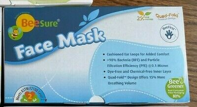 BRAND NEW BeeSure Earloop Face Mask ASTM Level-2 3-Ply 4-Fold Blue color 50/box