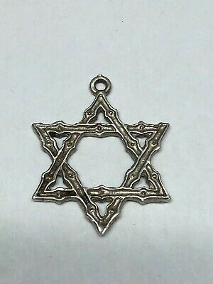 "Sterling Silver Very Nice 1 1/8"" Star Of David Shaped Pendant 3.2g"