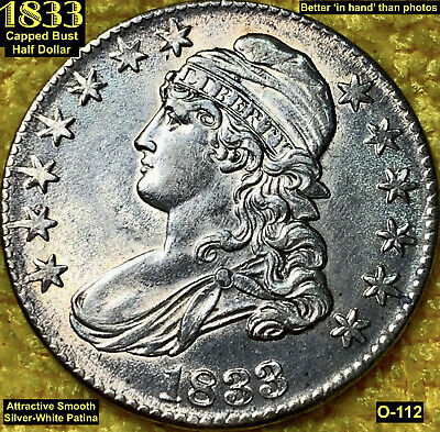 1833 Capped Bust Half Dollar (O-112) Attractive Patina! **Au**