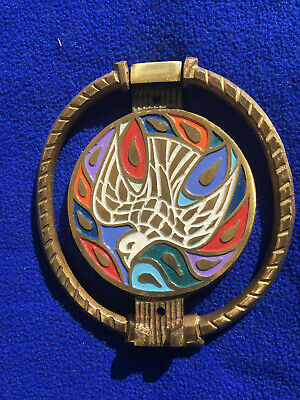 Peace Dove Door Knocker 1969 Mid Century Modernist Cast Brass & Enamel