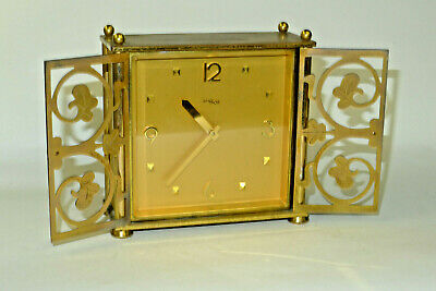 Vintage IMHOF 8-day gilded engraved barn door mantel/carriage clock