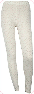 Soft Cosy Jersey Printed lounge Leggings Cream Floral UK size 10/12  - brand new