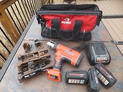 "Ridgid Compact 18V Crimper Set RP 210, RP210 1/2"" & 1-5/8""  Charger, 3 Batteries"