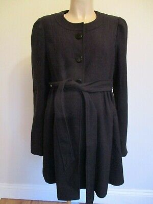 H&M Mama Maternity Smart Black Belted Long Coat Mac Jacket Size L 16-18