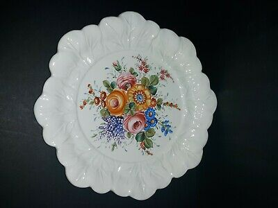 Handpainted Vintage Decorative Ceramic Flower Floral Plate Holland Mold