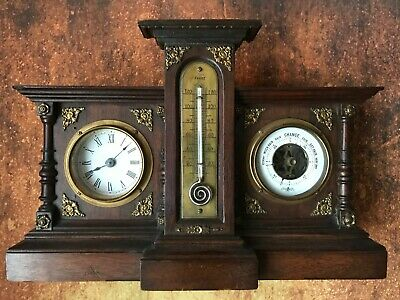 Stunning Antique Clock, Barometer, and pigtail Thermometer. Oak and Brass