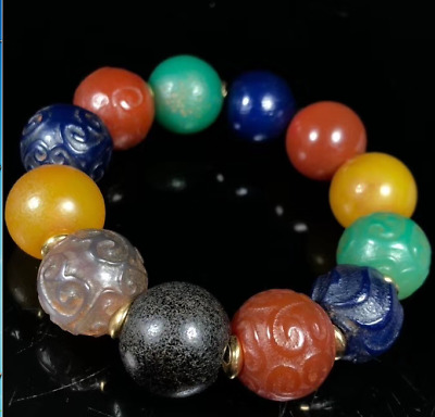 China Ancient old Multicolor agate Duobao natural weathering Oily Bracelets