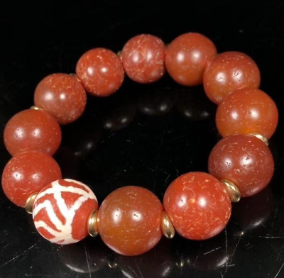 Ancient China Natural weathering Nail print old agate good luck Bracelets
