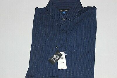Vince Camuto Men's 100% Cotton Black Navy Striped Casual Shirt Size M $85