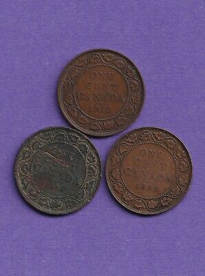 Canadian,(Canada) large cent (penny) 1913, 1917, 1920...NO RESERVE