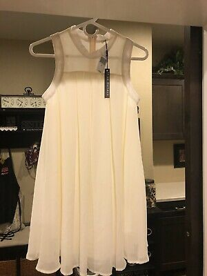NWT Girls Miss Behave Off White Dress - Size 16