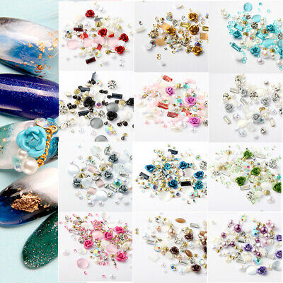 DIY 3D Nail Art Mixed Gems Nail Art Pearl Glitter Rhinestones Nail Decor Box
