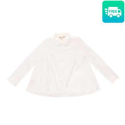 RRP €165 MARNI Shirt Size 8Y White Flare Long Sleeve Button Front Made in Italy