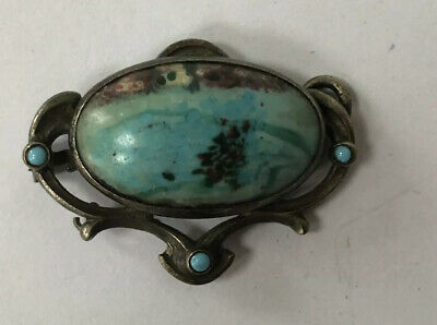 Antique Art Nouveau Victorian Agate Turquoise Sterling Silver  Brooch Pin A/F