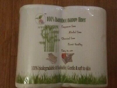 BAMBOO Flushable Liners Nappy Insert 200 PACK Biodegradable NATURAL Liner