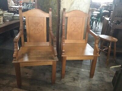 Pair Of Solid Oak Gothic, Arts And Crafts Hand Carved Chairs