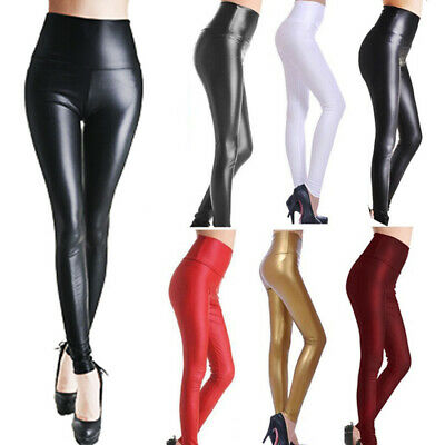 Women High Waist Faux Leather Wet Look Shiny Stretchy Tight Pant