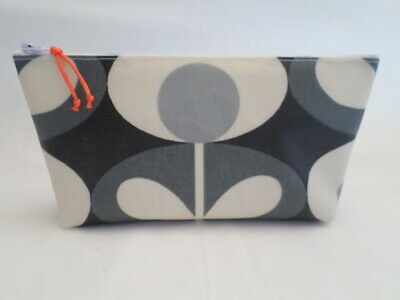 Handmade Oilcloth Make Up Bag Case - Orla Kiely Cool Grey Oval Flower Fabric