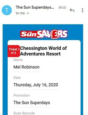 Chessington World Of Adventures Tickets X 2 - 16th July